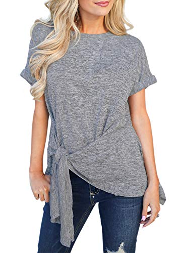 CILKOO Tunic Tops for Leggings for Women Tank Tops Summer Solid Casual Pleated Halter Sleeveless Shirts Blouses with Tie Grey US12-14 ()