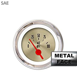 Aurora Instruments 4207 American Classic Oil Pressure Gauge (Gold Face, Red Vintage Needles, Chrome Bezels)