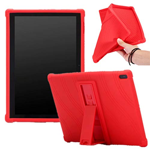 HminSen Compatible/Replacement for Ultra Slim Soft Silicon Rugged Back Stand Cover Lenovo Tab 4 10/Tab4 10 Plus case 2017 Release ZA2J0007US (Red)
