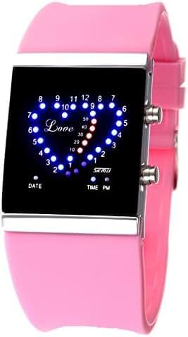 SKMEI Girl's Boy's Digital Lover's LED Display Sports Wrist Watch Pink