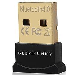 GeekMunky USB Bluetooth Adapter Dongle Receiver for Laptop PC Computer Windows 10, 8.1, 8, 7, Vista, XP Plug & Play