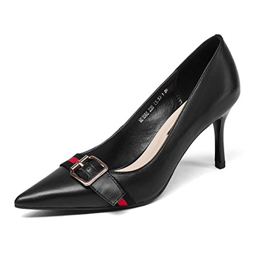 Black Buckle Dress Shallow Party High Court Wedding Shoes Metal Shoes Pointed Leather Fashion Toe Shoes Pumps Womens heeled RZpTqT