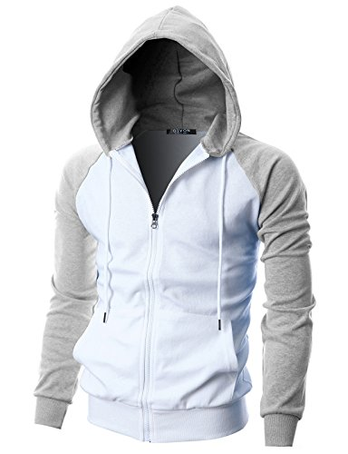 GIVON Mens Slim Fit Long Sleeve Lightweight Raglan Zip-up Hoodie with Kanga Pocket/DCF017-GREY-XL