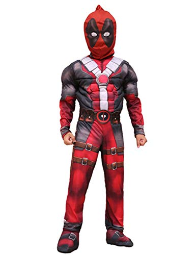 (JAPANSCHOICE Kids Superhero Costume Suit 3D Spandex Unisex Jumpsuit Bodysuit for Kids Aged 5-13 (Deadpool, M for Height 49.2