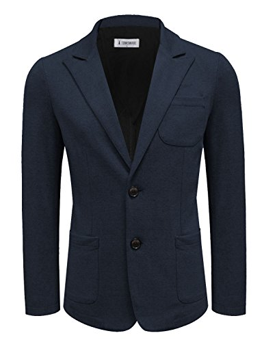 Tom's Ware Men Casual Slim Fit Single Breasted Blazer Jacket TWMJB010-J8219-NAVY-US S (Breasted Single Coat Sport)
