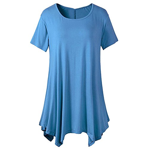 Women Short Sleeve Tunic Solid Swing Loose Thin T Shirt Top Light Blue L