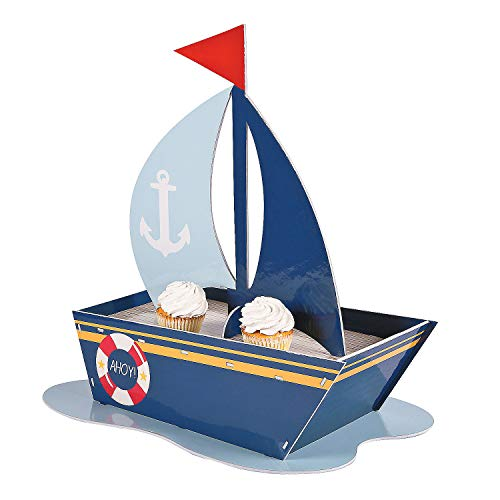 Fun Express - Nautical Baby Shower Cupcake Holder for Baby - Party Supplies - Serveware & Barware - Misc Serveware & Barware - Baby - 1 Piece