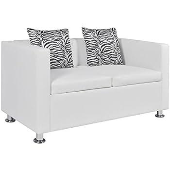 Amazon.com: Anself Modern Leather Love Seat Living Room 2-Seater ...