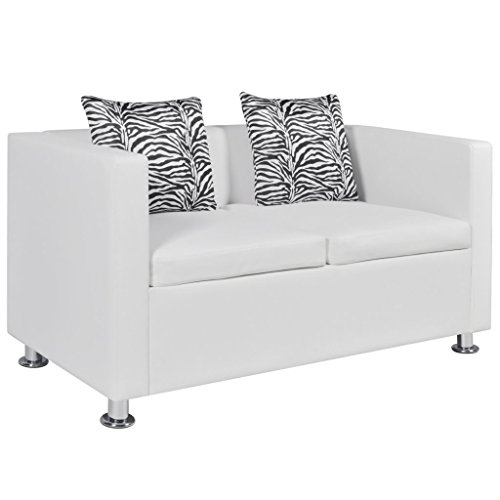 Anself Modern Leather Love Seat Living Room 2-Seater Sofa White