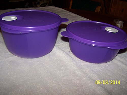 Purple Crystalwave Bowls By Tupperware 6 & 8 Cup Purple W/White Vent Button
