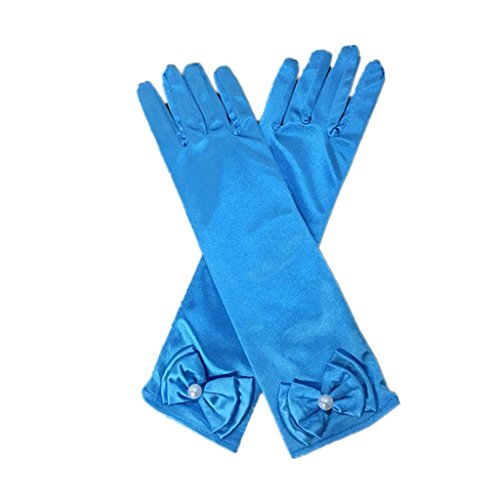 DreamHigh Kids Stretch Satin Long Finger Dress Gloves for Girl Children Party (Blue)