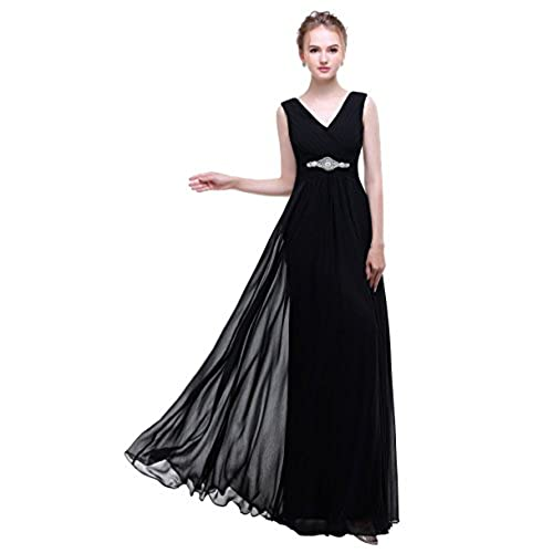 Esovr V Neck Chiffon Long Evening Gown Bridesmaid Dresses Prom Dresses Black 14