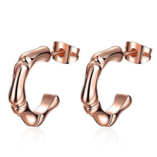 Women's Plating 14K Rose Gold Half circle Earrings Love Dangle Earring for Girl Gift - Mens 14k Gold Plating