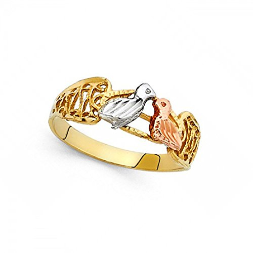 Love Birds Ring Solid 14k Yellow White Rose Gold Two Birds Kiss Band Filigree Tri Color 7MM Size 8