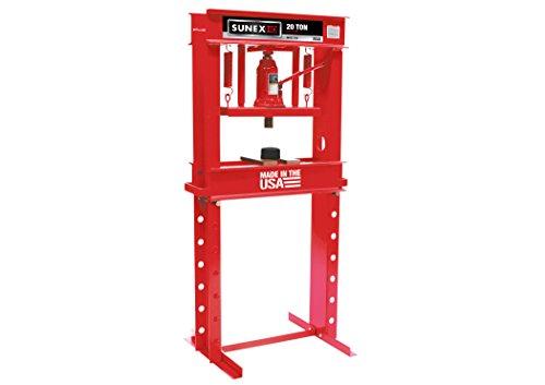 Ton 20 Shop Press Hydraulic (Sunex 5720 Fully-Welded Manual Hydraulic Shop Press, 20 Tons)