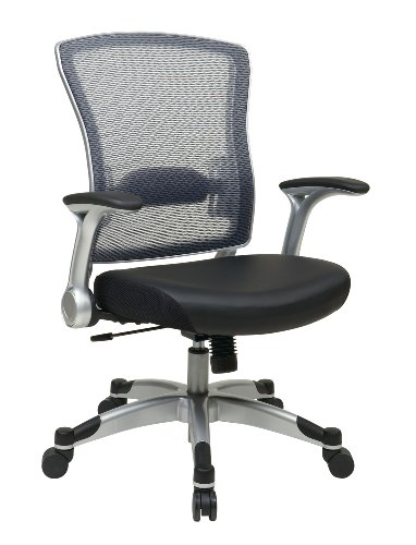 SPACE Seating Breathable AirGrid Mesh Back and Eco Leather Seat, 2-to-1 Synchro Tilt Control, 4-Way Adjustable Flip Arms, and Platinum Coated Accents Managers Chair, Black and Gray