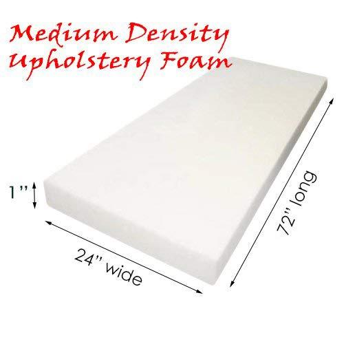 AK TRADING Upholstery Foam Medium Density Cushion; (Seat Replacement, Foam Sheet, Foam Padding), 72'' L X 1'' H X 24'' W ()