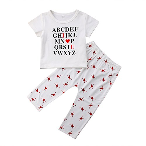 Alphabet Letters Print - WIFORNT Baby Girls Alphabet Letter Print Short Sleeve T-Shirt Tops + Heart Print Pants 2PCS Educational Outfits Clothes Set (12-18 Months)