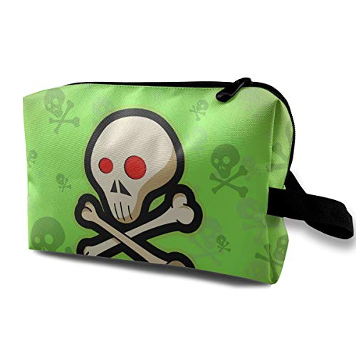 Cute Halloween Red Eye Death Sign Skeleton Multi-function Travel Makeup Toiletry Coin Bag -