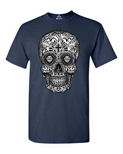 Shop4Ever Sugar Skull Black & White T-Shirt Day of The Dead Shirts XXXX-Large Navy 17037 ()