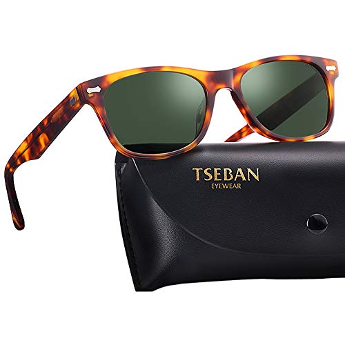 T.SEBAN Retro Polarized Sunglasses for Women Classic Vintage Designer Style Acetate Frame UV400 Protection