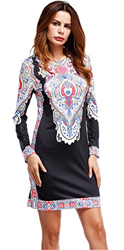 Baroque Print Dress (Arctic Cubic Long Sleeve Baroque Ethnic Tribal African Aztec Paisley Colorblock Mini Bodycon Dress Black White XL)