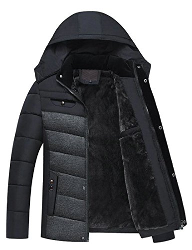 Lined UK Removable Fleece Jacket Down Padded today Men's Black Coat Winter Hooded Warm pqx1n6SB