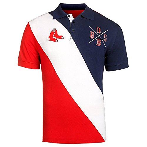 Boston Red Sox MLB Baseball Men's Diagonal Stripe Polo Shirt