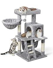 rabbitgoo Drapak z hamakiem, stabilny mebel dla kotów, pluszowy i sizalowy, ze schodami, domek do zabawy dla kotów, kotów
