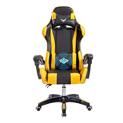 Office Chair Leather Desk Gaming Chair, High Back Ergonomic Adjustable Racing Chair,Task Swivel Executive Computer Chair Headrest and Lumbar Support, 150kg Load Capacity ( Color : Yellow ) ()
