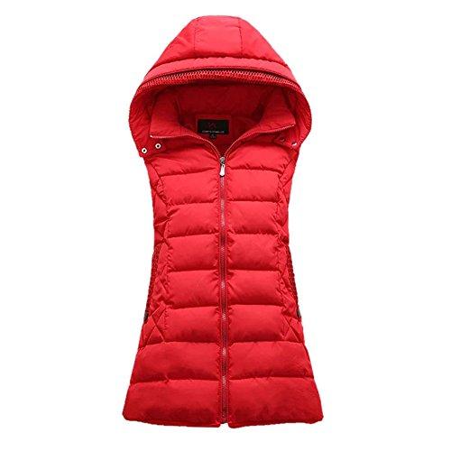 増幅する剥離工業用Cozy Maker(C&M)べスト レディース 中綿ベスト 袖なし 立ち襟 軽量 ポケット付き 無地 防寒 暖かい カジュアル シンプル ノースリーブ 通勤 通学 大きいサイズ アウター トップス 厚手 フード付き ファスナー