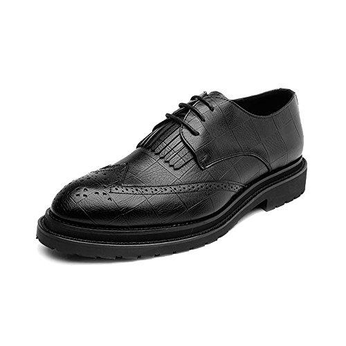 color Cuir En Noir Doublées Marron À Formelles Mxnet Décoration Classiques Chaussures 43 Pour Eu Tassel Oxford Hommes Respirantes Pu Lacets Brogue Taille qwZaptExZ