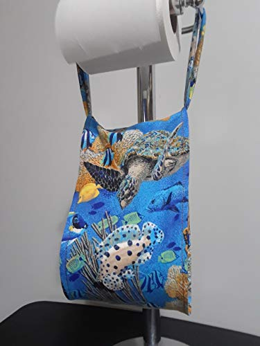 Sea Turtle Ocean Life Print Fabric Spare Bathroom Tissue Holder -