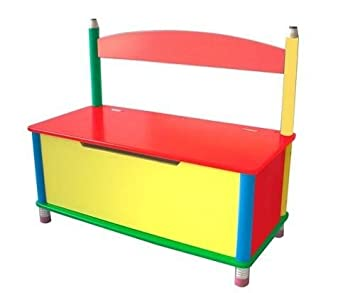Delightful Wood Pencil Toy Chest Wooden Storage Bench Box Kids Toy Bin Playroom