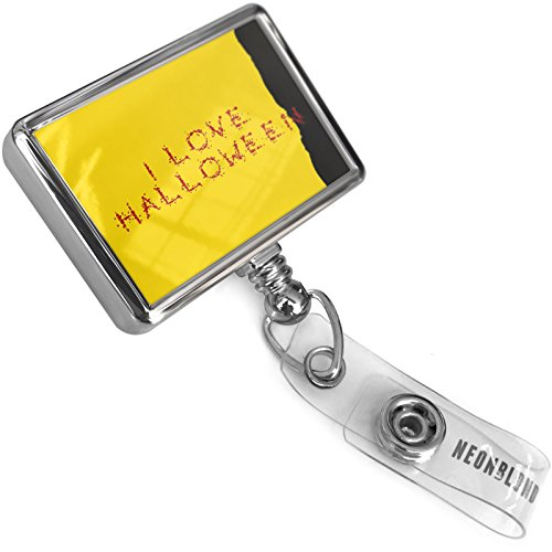 Retractable Plastic ID Badge Reel I Love Halloween