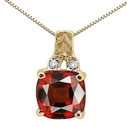 2.50Ct Cushion Shaped Garnet and Round Shaped Diamond Pendant in 10K Yellow Gold