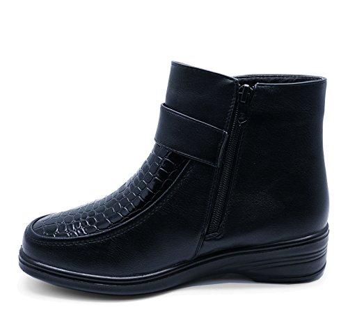 HeelzSoHigh Damen Schwarz Bequem Low-Wedge Reißverschluss Warm Fleece Gefüttert Winter Stiefeletten Schuhe Größen 3-8