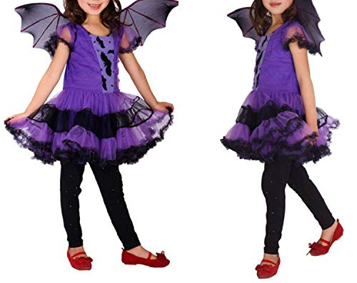 Vampire Fancy Dress Halloween Costume Witch Party Christmas Carnival Costumes for Children,Purple,M