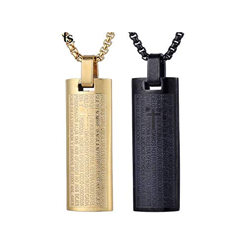 Dlingling Stainless Steel Bible Scriptures Rectangular Pendant Necklace Fashion Mens Boys Jewelry