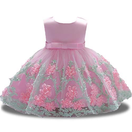 Pageant Dresses for Girls Round Neck Sash Satin Cute Elegant Summer Sun Dress for Wedding Bridesmaid 6-12 Months Pink ()