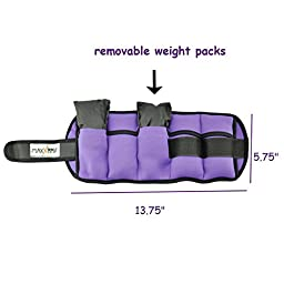 MaxxMMA 5 lbs Adjustable Ankle Weights Pair + 1.5 lbs Weighted Gloves (PURPLE)