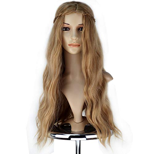 morvally Long Curly Wavy Synthetic Hair Wigs for Women Hlloween Cosplay Costume Wig (Light Brown)]()