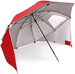 Sport-Brella Portable All-Weather and Sun Umbrella. 8-Foot Canopy. Red.