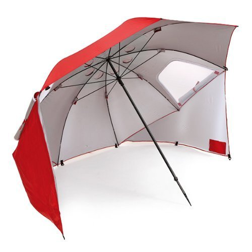 - Sport-Brella Vented SPF 50+ Sun and Rain Canopy Umbrella for Beach and Sports Events (8-Foot, Red)