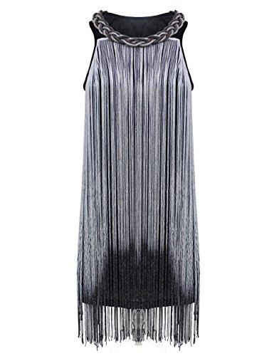 PrettyGuide Mujer 1920s Flecos Larga Gatsby Vestidos De Coctel Flapper plateado