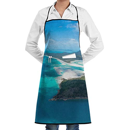 Blue Sea Island Mountain Apron Lace Adult Mens Womens Chef Adjustable Polyester Long Full Black Cooking Kitchen Aprons Bib with Pockets for Restaurant Baking Crafting Gardening BBQ Grill ()