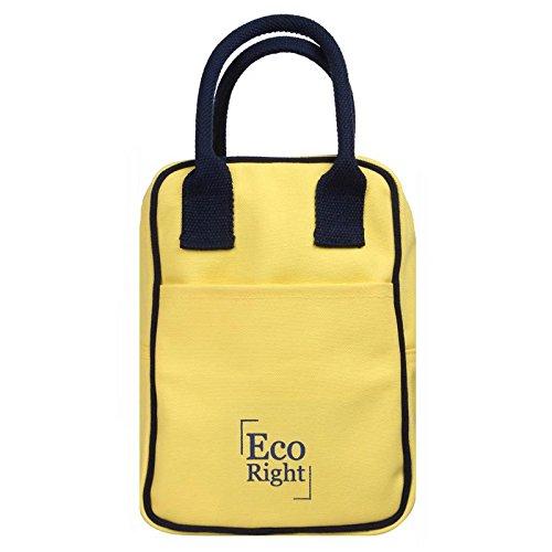 EcoRight - Lonchera de lona de algodón, reutilizable, con aislamiento, ecológica, lavable, con zíper, para hombres,...