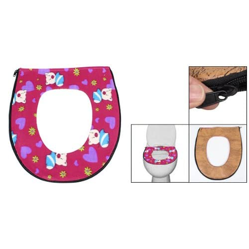 60%OFF uxcell Cartoon Pig Pattern Flannel Faux Leather Closestool Seat Warmer Cover Pad