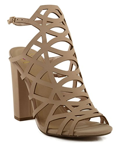 Delicious Women's Ghaly Lattice Inspired Halter Tall Block Heel (9, Taupe)
