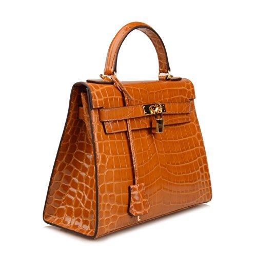 95be890cdd57 Ainifeel Women s Padlock Crocodile Embossed Patent Leather Shoulder Handbags